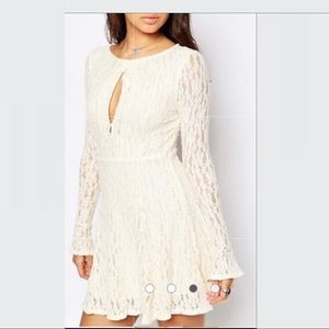 Free People Lace Flare Sleeve Mini Dress Cream